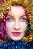 Donna in costume di Natale del lamé Fotografie Stock Libere da Diritti