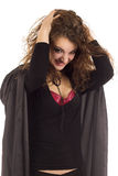 Donna in costume nero fotografia stock