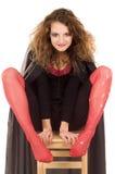Donna in costume nero fotografie stock libere da diritti