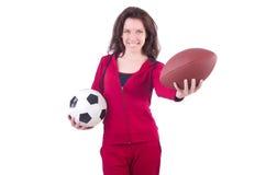 Donna in costume rosso Immagini Stock