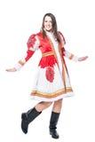 Donna in costume russo piega di tradizione Isolato su priorità bassa bianca Immagine Stock