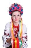 Donna in costume ucraino nazionale. Ritratto. Immagini Stock Libere da Diritti