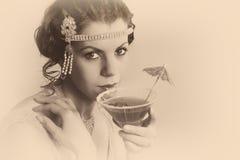 donna d'annata degli anni 20 nella seppia Fotografia Stock Libera da Diritti