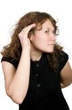 Donna d'ascolto Fotografia Stock Libera da Diritti