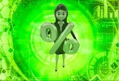 donna 3d che tiene l'illustrazione dorata di simbolo di percentuale Fotografia Stock Libera da Diritti