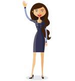 Donna dagli occhiali di affari piani Condizione occhialuta della ragazza Vettore illustrazione di stock