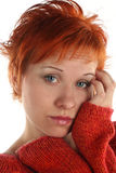 Donna dai capelli rossa triste Immagine Stock Libera da Diritti