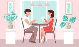 Donna degli amanti e un uomo ad una tavola in un caffè illustrazione di stock