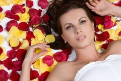 Donna dei petali di Rosa Immagini Stock