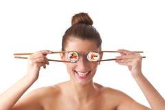 Donna dei sushi isolata Fotografia Stock