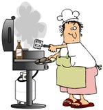 Donna del barbecue Fotografia Stock Libera da Diritti
