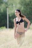 Donna del bikini fra alta erba asciutta Fotografie Stock Libere da Diritti
