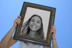 Donna del blocco per grafici fotografia stock