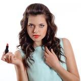Donna del Brunette con rossetto rosso Fotografia Stock Libera da Diritti