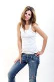 Donna del Brunette in jeans trasandati Immagini Stock Libere da Diritti