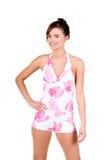 Donna del Brunette in un bikini Immagini Stock