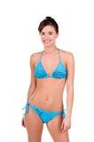 Donna del Brunette in un bikini immagine stock