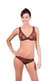 Donna del Brunette in un bikini immagine stock libera da diritti