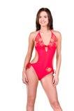 Donna del Brunette in un bikini fotografie stock