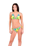 Donna del Brunette in un bikini fotografia stock libera da diritti