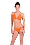 Donna del Brunette in un bikini immagini stock libere da diritti