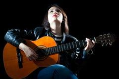 Donna del chitarrista Immagine Stock Libera da Diritti