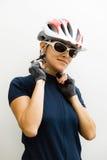 Donna del ciclista Immagine Stock