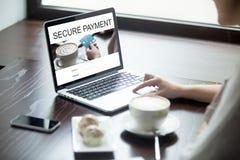 Donna del cliente che usando il software online di pagamento Fotografia Stock Libera da Diritti