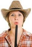 Donna del cowboy con una pistola. Fotografia Stock