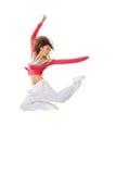 Donna del danzatore che salta stile di hip-hop Fotografia Stock