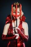 Donna del diavolo rosso Fotografia Stock Libera da Diritti