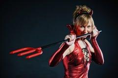 Donna del diavolo rosso Fotografie Stock Libere da Diritti