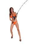 Donna del Fisher del bikini fotografia stock