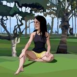 Donna del fumetto che si siede sull'erba nel parco fotografia stock