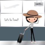 Donna del fumetto che viaggia con una borsa dei bagagli Illustrazione di Stock