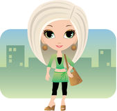 Donna del fumetto in una città illustrazione vettoriale