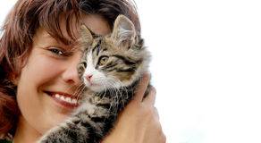 Donna del gatto Fotografia Stock