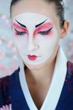Donna del geisha del Giappone con trucco creativo Immagine Stock Libera da Diritti
