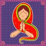 Donna del gesto d'accoglienza dell'India nello stile indiano di arte illustrazione di stock