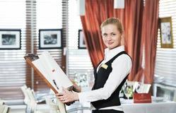 Donna del gestore del ristorante sul lavoro Fotografia Stock
