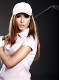 Donna del giocatore di golf. Fotografie Stock