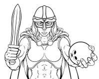 Donna del guerriero di Viking Trojan Celtic Knight Bowling illustrazione vettoriale