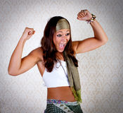 Donna del Hippie con il fronte felice ed il gesto Fotografie Stock