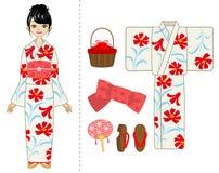 Donna del kimono di estate ed insieme dell'oggetto royalty illustrazione gratis