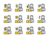 Donna del lavoratore con l'insieme dell'icona del profilo del computer portatile Lavoro creativo e media sociali Fotografia Stock
