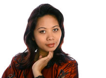 Donna del Malay nel colore rosso Immagine Stock