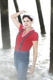 Donna del marinaio in acqua immagine stock libera da diritti
