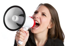 Donna del megafono Immagini Stock Libere da Diritti
