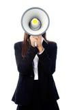 Donna del megafono immagini stock