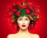 Donna del modello di moda di Natale Fotografia Stock